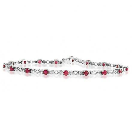 9K White Gold 0.17ct Diamond & Ruby Bracelet, G1403